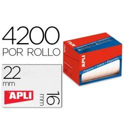 ETIQUETA ADHESIVA APLI 1683 TAMAŸO 16X22 MM EN ROLLO DE 4200 UNIDADES
