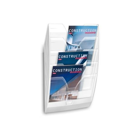 EXPOSITOR MURAL CEP DE PARED CON 5 COMPARTIMENTOS TRANSPARENTE Y BLANCO 580X122X350MM