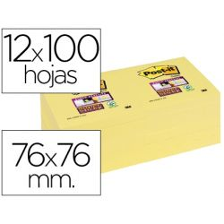 BLOC NOTA ADHESIVAS QUITA Y PON POST-IT SUPER STICKY 76X76 MM CON 12 BLOC AMARILLO CANARIO