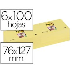 BLOC NOTA ADHESIVAS QUITA Y PON POST-IT SUPER STICKY 76X127 MM CON 6 BLOC AMARILLO CANARIO