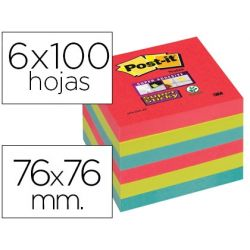 BLOC NOTA ADHESIVAS QUITA Y PON POST-IT SUPER STICKY 76X76 MM CON 6 BLOC 2 ROJOS VERDE NEON AZUL