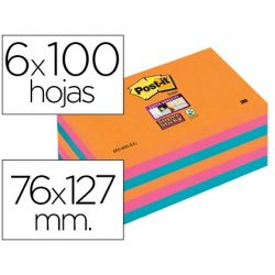 BLOC NOTA ADHESIVAS QUITA Y PON POST-IT SUPER STICKY 76X127 MM CON 6 BLOC 2 ROSA NARANJA NEON AZUL