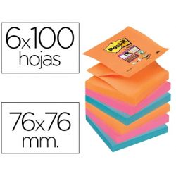 BLOC NOTA ADHESIVAS QUITA Y PON POST-IT SUPER STICKY 76X76 MM ZIGZAG CON 6 BLOC 2 ROSA NARANJA NEON