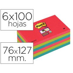 BLOC NOTA ADHESIVAS QUITA Y PON POST-IT SUPER STICKY 76X127 MM CON 6 BLOC 2 ROJO VERDE NEON AZUL