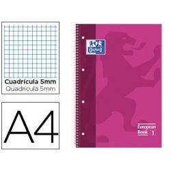 BLOC ESPIRAL OXFORD EUROPEAN BOOK TAPA EXTRADURA DIN A4 80 HOJAS CUADRICULA 5 MM COLOR ROSA