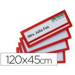 MARCO IDENTIFICACION TARIFOLD ADHESIVO 120X45 MM ROJO PACK DE 4 UNIDADES