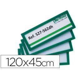 MARCO IDENTIFICACION TARIFOLD ADHESIVO 120X45 MM VERDE PACK DE 4 UNIDADES
