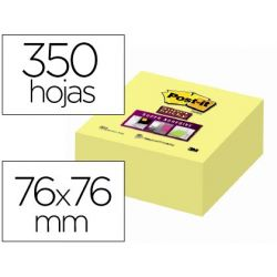 BLOC DE NOTAS ADHESIVAS QUITA Y PON POST-IT 76X76X MM CUBO COLORES AMARILLO 350 HOJAS