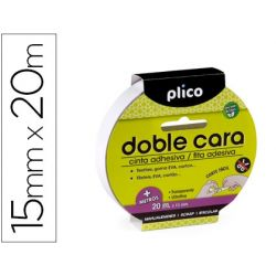 CINTA ADHESIVA PLICO DOBLE CARA 15MM X 20MT