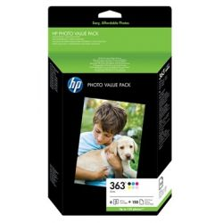 INK-JET HP 363 PHOTOSMART 3110 / D6160 / 8250 / C5180 PACK MULTICOLOR + PAPEL 10X15 CM - 150 PAG -