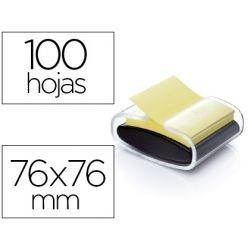 SOPORTE BLOC DE NOTAS ADHESIVAS QUITA Y PON POST-IT SUPER STICKY Z NOTES COLOR NEGRO CON 1 BLOC 76X7