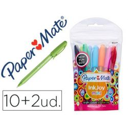 BOLIGRAFO PAPER MATE INKJOY 100 MINI PUNTA MEDIA TRAZO 1 MM PACK 10 + 2 UNIDADES COLORES SURTIDOS