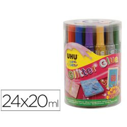 PURPURINA PEGAMENTO UHU GLITTER GLUE MIX BOTE 24 UNIDADES COLORES SURTIDOS 20 ML
