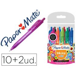 BOLIGRAFO PAPER MATE INKJOY 100 MINI RETRACTIL PUNTA MEDIA TRAZO 1 MM PACK 10 + 2 UNIDADES COLORES S