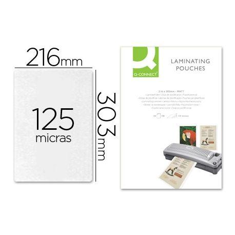 BOLSA DE PLASTIFICAR Q-CONNECT-303 X 216 MM -125 MC DIN A4 MATE SIN REFLEJOS