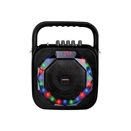 ALTAVOZ DAEWOO PORTATIL DSK-360 MICROFONO INALAMBRICO LUCES LED USB ENTRADA JACK POTENCIA 20W NEGRO
