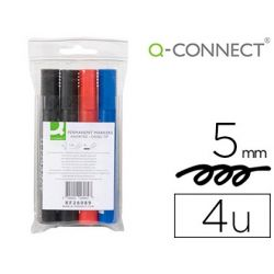 ROTULADOR Q-CONNECT MARCADOR PERMANENTE ESTUCHE DE 4 COLORES SURTIDOS PUNTA BISELADA 5.0 MM