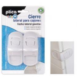CIERRE LATERAL PARA CAJONES PLICO PLASTICO BLANCO BLISTER DE 2 UNIDADES