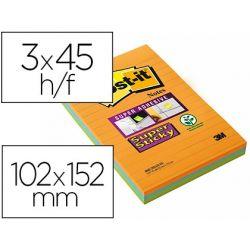 BLOC DE NOTAS ADHESIVAS QUITA Y PON POST-IT SUPER STICKY NEON RAYADO 101X152MM PACK DE 3 UDS COLORES