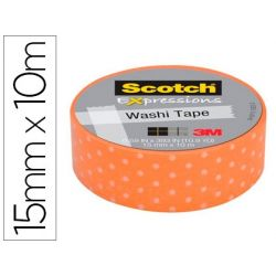 CINTA ADHESIVA SCOTCH WASHI TAPES PUNTOS NARANJA 10 MT X 15 MM