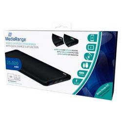 CARGADOR DE COCHE MEDIARANGE POWERBANK 25000 MAH 3 SALIDAS USB FUNCION CARGA RAPIDA BATERIA POLIMERO