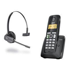 TELEFONO INALAMBRICO GIGASET A220 NEGRO + AURICULAR WIRELESS PLANTRONICS C565 COLOR NEGRO