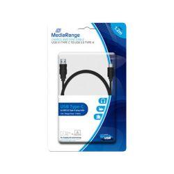 CABLE USB 3.1 TIPO C A USB 3.0 TIPO A MEDIARANGE LONGITUD DEL CABLE 1.2 MT NEGRO