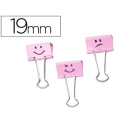 PINZA METALICA RAPESCO REVERSIBLE 19 MM EMOJIS ROSA