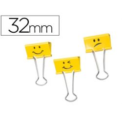 PINZA METALICA RAPESCO REVERSIBLE 32 MM EMOJIS AMARILLO