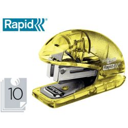 GRAPADORA RAPID MINI BABY RAY COLOUR ICE F4 CAPACIDAD 10 HOJAS USA GRAPAS 24/6 Y 26/6 COLOR AMARILLO