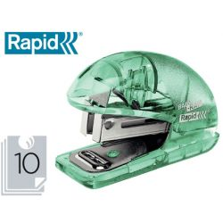 GRAPADORA RAPID MINI BABY RAY COLOUR ICE F4 CAPACIDAD 10 HOJAS USA GRAPAS 24/6 Y 26/6 COLOR AZUL EN