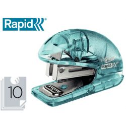GRAPADORA RAPID MINI BABY RAY COLOUR ICE F4 CAPACIDAD 10 HOJAS USA GRAPAS 24/6 Y 26/6 COLOR VERDE EN