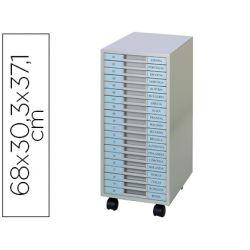 ARCHIVADOR METALICO CLEN 20 BANDEJAS PLASTICO DE 2,5 CM DE ALTURA CON RUEDAS COLOR GRIS CLARO 680X30
