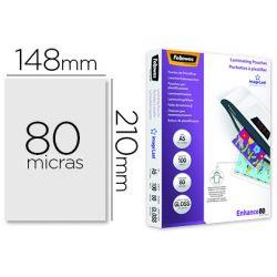 BOLSA DE PLASTIFICAR FELLOWES BRILLO DIN A5 80 MICRAS PACK 100 UNIDADES