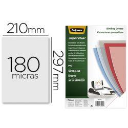 TAPA DE ENCUADERNACION FELLOWES DIN A4 PVC TRANSPARENTE CRISTAL 180 MICRAS PACK DE 100 UNIDADES
