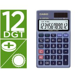 CALCULADORA CASIO SL-320TER BOLSILLO 12 DIGITOS TAX +/- CONVERSION MONEDA TECLA DOBLE CERO COLOR AZU