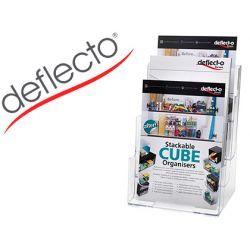 EXPOSITOR SOBREMESA DEFLECTO 3 ALTURAS DIN A4 VERTICAL ESCALONADO 245X322X160 MM