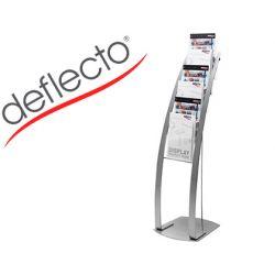 EXPOSITOR SUELO DEFLECTO DIN A4 VERTICAL 6 BANDEJAS BASE ACERO CONTEMPORARY COLOR PLATA 380X1250X420