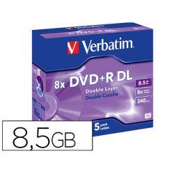 DVD+R VERBATIM DOBLE CAPA CAPACIDAD 8.5GB VELOCIDAD 8X 240 MIN