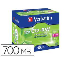 CD-RW VERBATIM SERL CAPACIDAD 700MB VELOCIDAD 12X 80 MIN