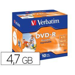DVD-R VERBATIM IMPRIMIBLE CAPACIDAD 4.7GB VELOCIDAD 16X 120 MIN