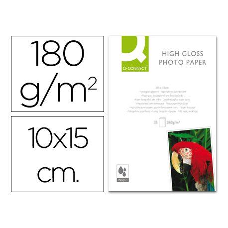 PAPEL Q-CONNECT FOTO GLOSSY -KF01905 -10X15 -DIGITAL PHOTO -PARA INK-JET -BOLSA DE 25 HOJAS DE 180 G