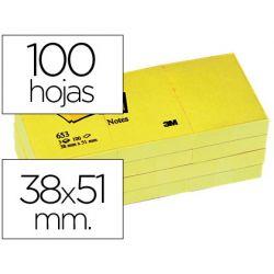 BLOC DE NOTAS ADHESIVAS QUITA Y PON POST-IT 38 X 51 MM AMARILLO 653/E-PACK DE 12 BLOC