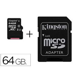 MEMORIA SD MICRO KINGSTON 64 GB CANVAS SELECT CLASE 10 CON ADAPTADOR