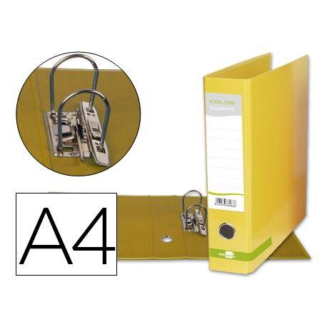 ARCHIVADOR DE PALANCA LIDERPAPEL A4 COLOR SYSTEM FORRADO SIN RADO LOMO 80MM AMARILLO COMPRESOR METAL