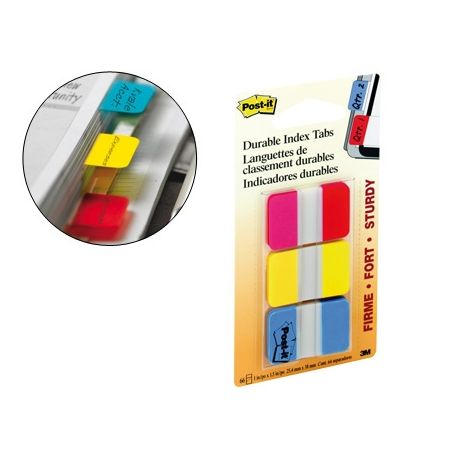 BANDERITAS SEPARADORAS RIGIDASDISPENSADOR 3 COLORES POST-IT INDEX 686-RYB MEDIANOS22 BANDERITAS POR