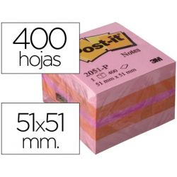 BLOC DE NOTAS ADHESIVAS QUITA Y PON POST-IT 51X51 MM MINICUBO COLOR ROSA 2051-P 400 HOJAS