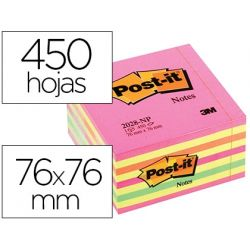 BLOC DE NOTAS ADHESIVAS QUITA Y PON POST-IT 76X76 MM CUBO COLOR ROSA NEON 450 HOJAS