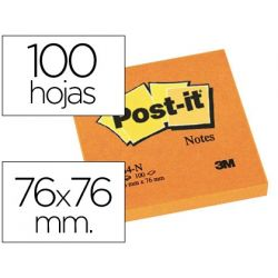 BLOC DE NOTAS ADHESIVAS QUITA Y PON POST-IT 76X76 MM NARANJANEON CON 100 HOJAS