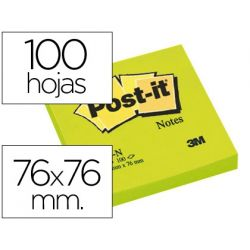 BLOC DE NOTAS ADHESIVAS QUITA Y PON POST-IT 76X76 MM VERDE NEON CON 100 HOJAS
